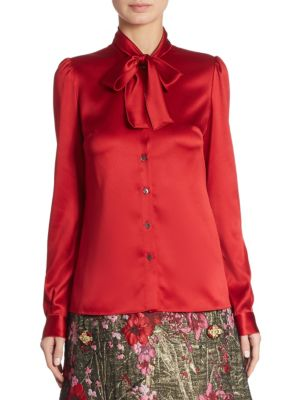 Satin Tie-Neck Blouse by Dolce & Gabbana