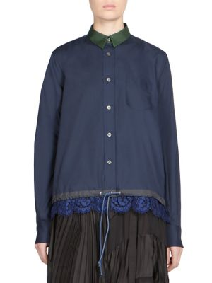 Lace Button-Front Shirt by Sacai