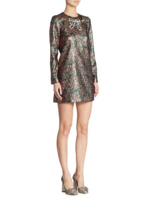 Metallic Floral Dress