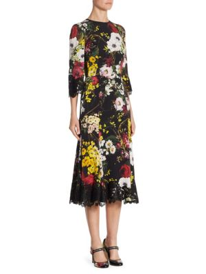 Floral Print Charmeuse Dress with Lace Trim