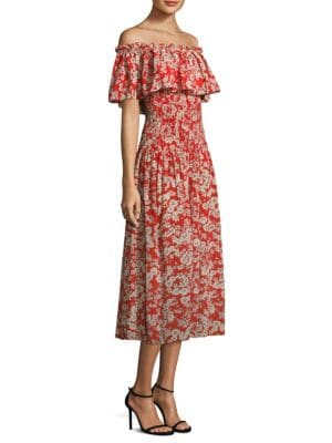 OS Cherry Blossom Silk Off-The-Shoulder Dress