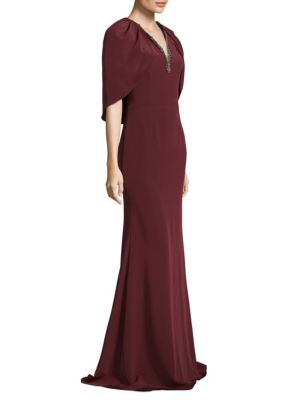 Floor-Length Cape Crepe Gown