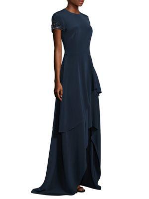 Floor-Length Tiered Asymmetrical Hem Gown