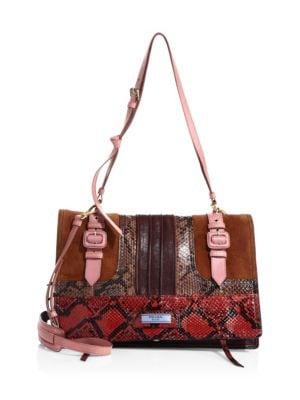 Etiquette Leather & Snakeskin Patch Shoulder Bag