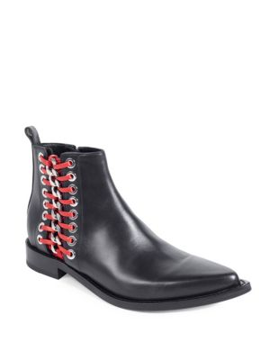 Chain Trim Leather Booties by Alexander Mc Queen
