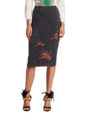 Embellished Knit Pencil Skirt