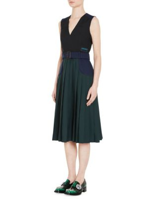Twill Divisa Belted Colorblock V-Neck Dress