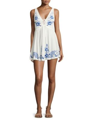 Embroidered Aida Slip Dress