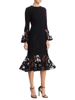 Illusion Bell-Sleeve Bodycon Dress