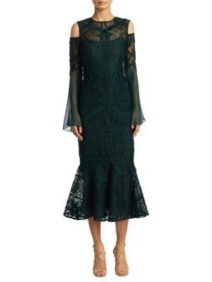 Cold Shoulder Bell Sleeve Cocktail Dress