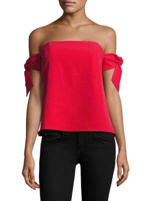 Jade Strapless Tie-Sleeve Top by MILLY