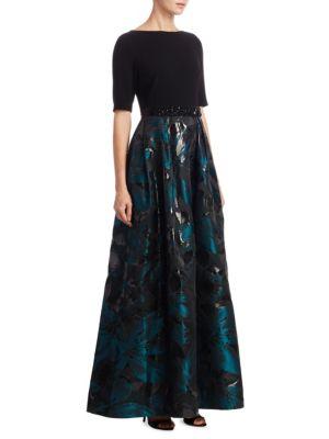 Three-Quarter Sleeve Jacquard Skirt Ballgown