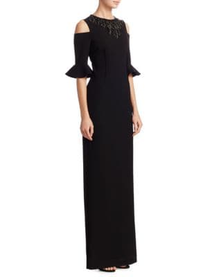 Cold Shoulder Bell Sleeve Column Gown