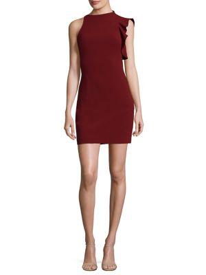 Pabla Ruffle-Shoulder Mini Dress