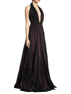 Metallic Halter Floor-Length Gown