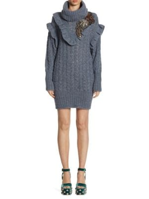 Cable-Knit Embroidered Alpaca Sweater Dress