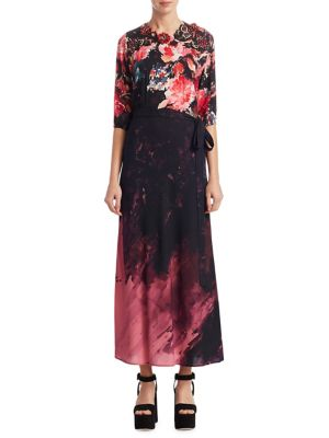 Embroidered Printed Tie-Waist Dress