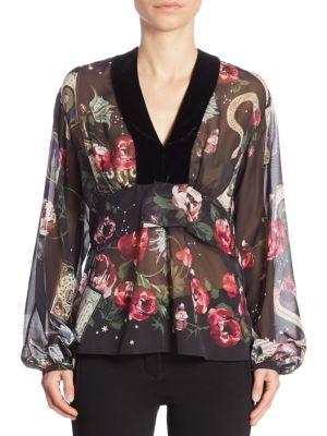 Silk Velvet Floral Blouse