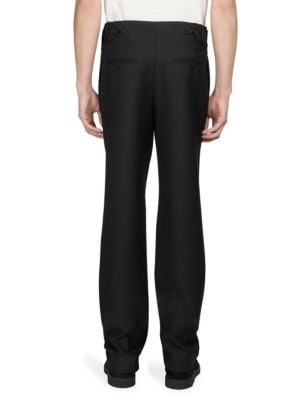 SAINT LAURENT Pleated-Front Wool Trousers in Black