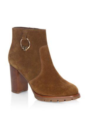 Sofia Lug Sole Leather Mid-heel Booties