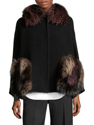 Fox Fur & Virgin Wool Cape Coat