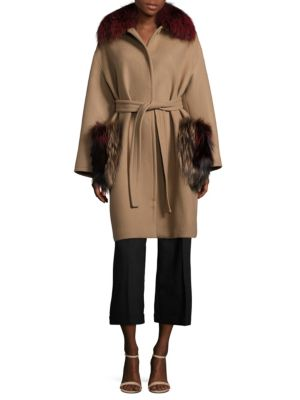 Fox Fur & Virgin Wool Wrap Coat