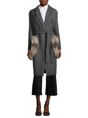 Wool Fur Pocket Coat