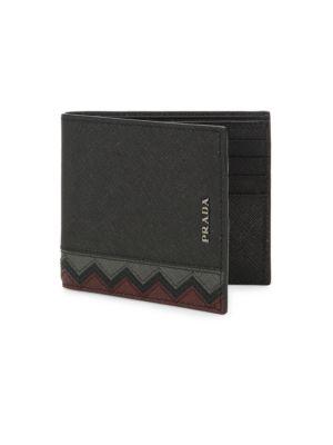 Chevron Leather Bi-Fold Wallet