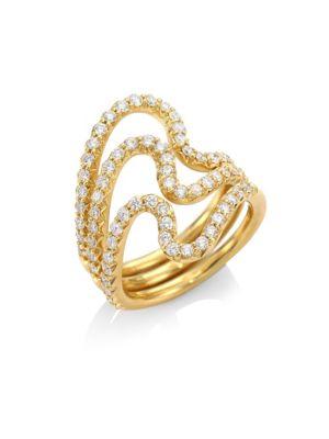 CARELLE Brushstroke N° 22 Diamond & 18K Yellow Gold Ring Set