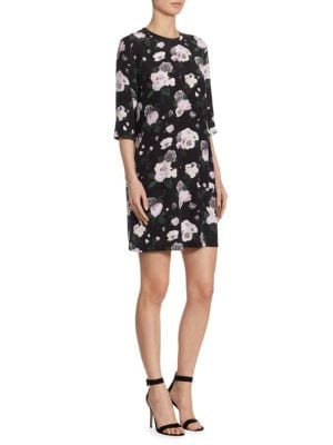 Aubrey Floral Print Silk Dress