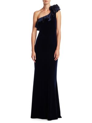 One Shoulder Ruffle Velvet Gown
