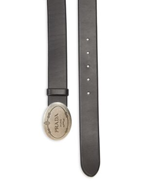 Prada Oval Logo Reversible Leather Belt, Black/Brown