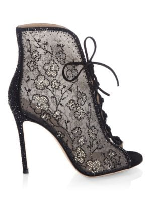 Crystal Mesh Lace-Up Booties