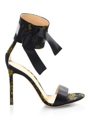 Floral Satin Open Toe Sandals
