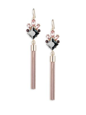 Stone-Accented Tassel Drop Earrings