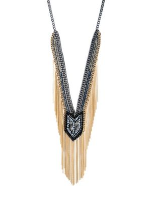 ABS BY ALLEN SCHWARTZ Smoke and Mirrors Fringe Beaded Y Necklace
