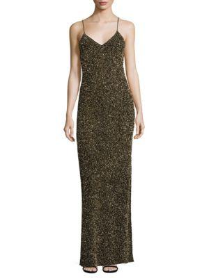Stila Embellished Side Slit Gown
