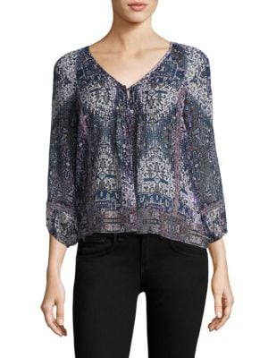 Gwendalyn Tile-Print Silk Blouse