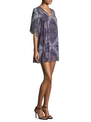 Hadiya Lace-Up Tile-Print Silk Dress