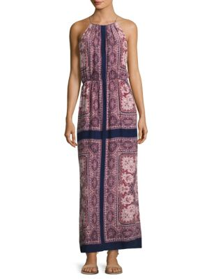 Alandra Border-Print Silk Maxi Dress