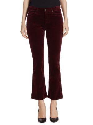 Jodi High-Rise Cropped Flare Velvet Pants