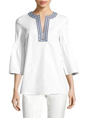 Buy Tory Burch Ariana Crisp Poplin Mirror Applique Tunic online with Australia wide shipping