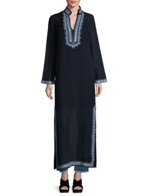 Amalia Embroidered Cotton & Linen Caftan