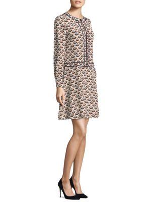 Long-Sleeve Silk Mini Dress