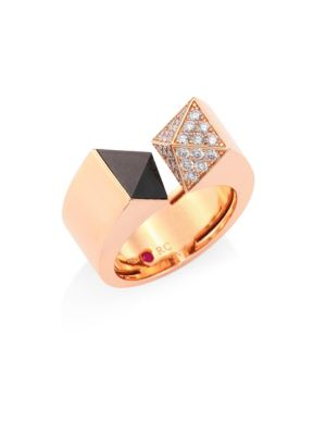 Sauvage Privé Pyramid Pave Diamond, Black Jade & 18K Rose Gold Ring