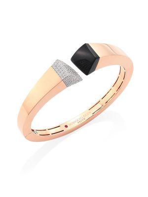 ROBERTO COIN Sauvage Privé Pave Diamond, Black Jade & 18K Rose Gold Bangle