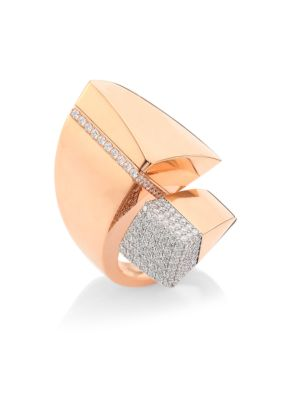 Sauvage Privé Pave Diamond & 18K Rose Gold Bypass Ring