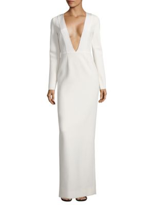 Long Sleeve V-Neck Gown