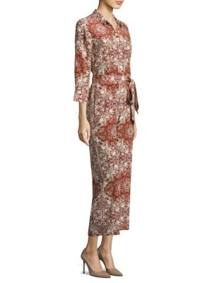 Printed Silk Belted Jumpsuit