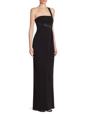 Matt Crystal-Strap Jersey One Shoulder Gown